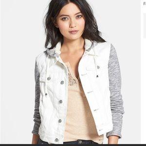 Free People White Jean Sweatshirt Jacket